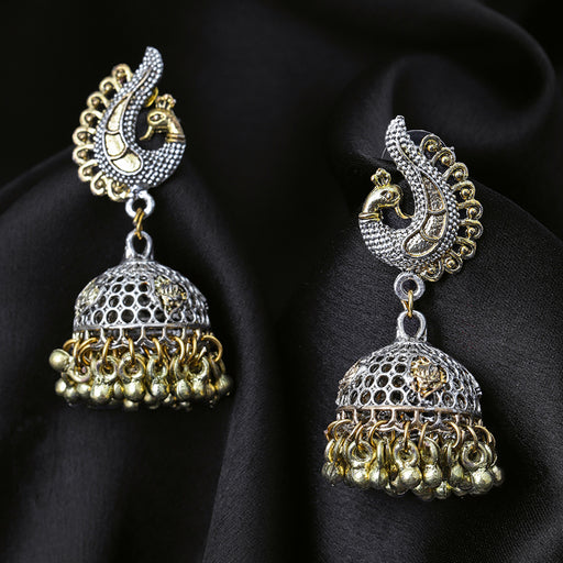 Sukkhi Adorable Oxidised Plated Peacock Jhumki Earring for Women