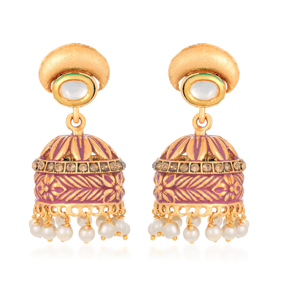 Sukkhi Shimmering Mint Meena Collection LCT Gold Plated Earring for Women