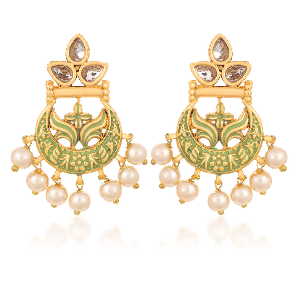 Sukkhi Tibale Kundan Mint Meena Collection Gold Plated Earring for Women