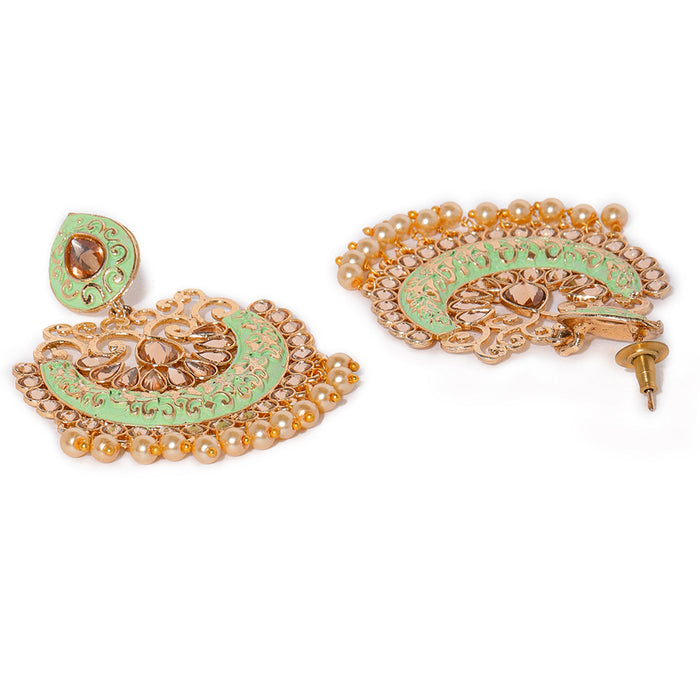 Sukkhi Trendy Mint Collection Gold Plated Chand Bali Earring for Women