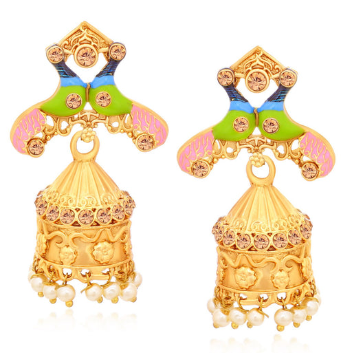 Sukkhi Elegant Peacock Mint Collection Gold Plated Jhumki Earrings For Women