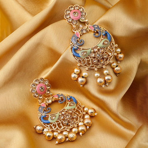 Sukkhi Antique Peacock Mint Collection Gold Plated Chand Bali Earring for Women