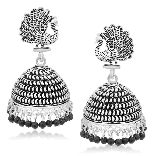 Sukkhi Exotic Oxidised Plated Peacock Jhumki Earrings For Women