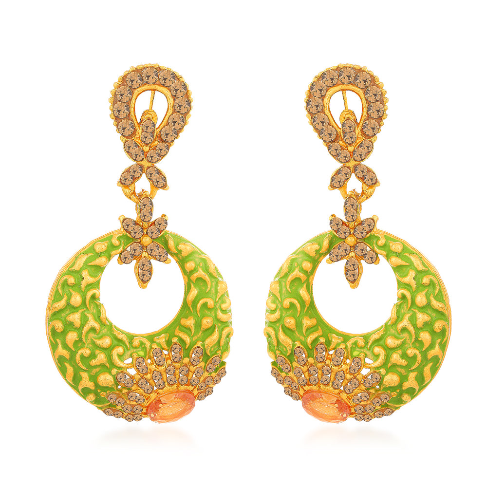 Sukkhi Glitzy Mint Meena Collection Gold Plated Earring for Women
