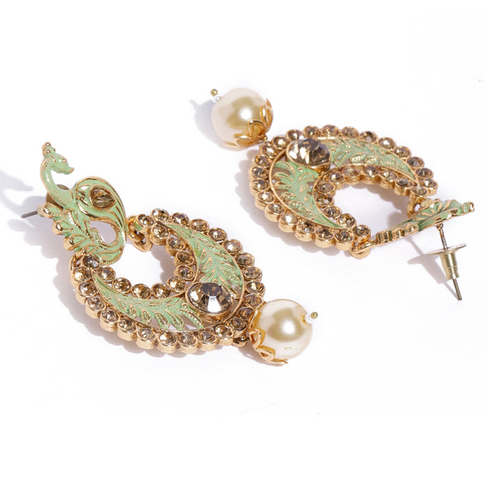 Sukkhi Fine Mint Peacock Gold Plated Chand Bali Earring for Women