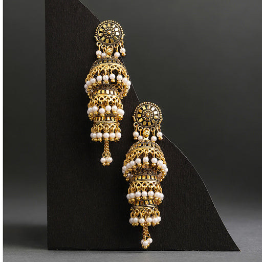 Sukkhi Glitzy Gold Plated Triple Jhumki Earring for Women