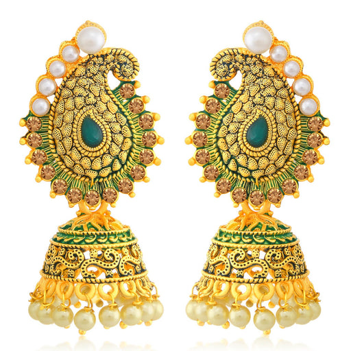 Sukkhi Glorious LCT Gold Plated Paisley Pearl Green Mint Meena Collection Jhumki Earring For Women