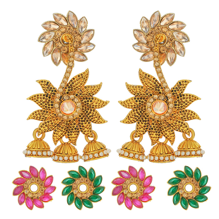 Sukkhi Incredible Gold Plated Changeable Stone Jhumki Earring for Women