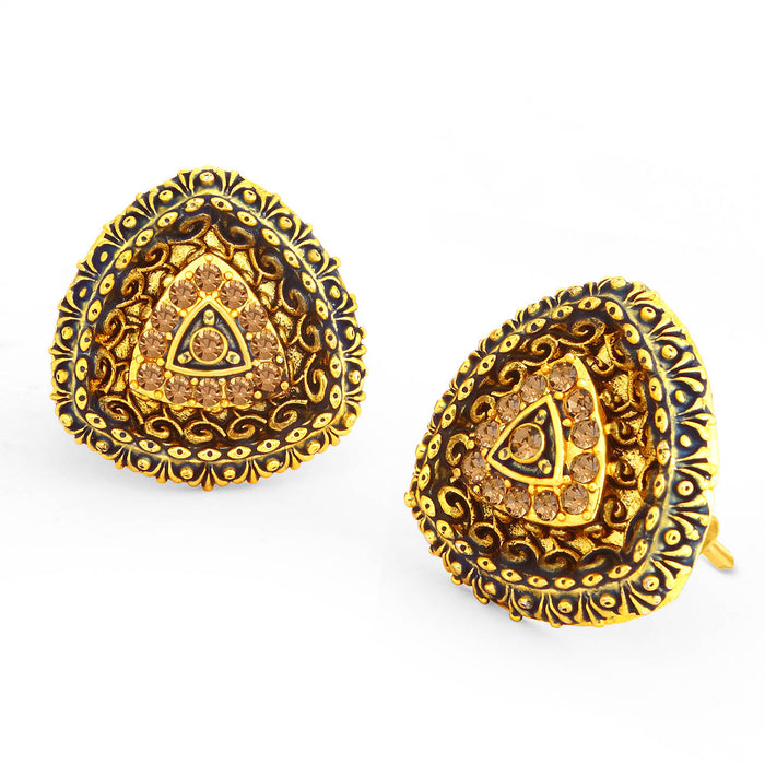Sukkhi Adorable LCT Gold Plated Blue Mint Meena Collection Stud Earring For Women