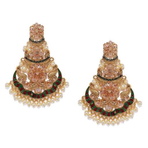 Sukkhi Meenakari Gold Plated Chand Bali Earring for Women