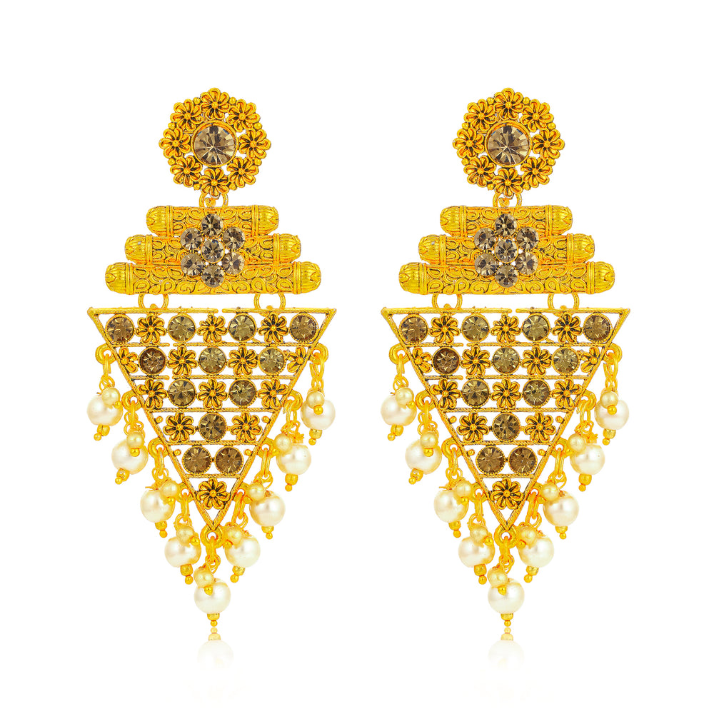 Sukkhi Beguiling Floral Gold Plated Earring for Women