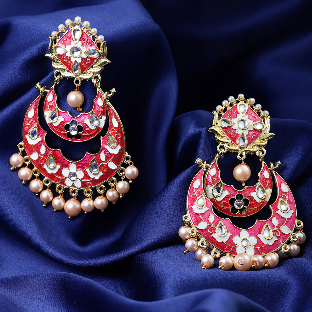 Sukkhi Sensational Meenakari Gold Plated Chand Bali Earring for Women
