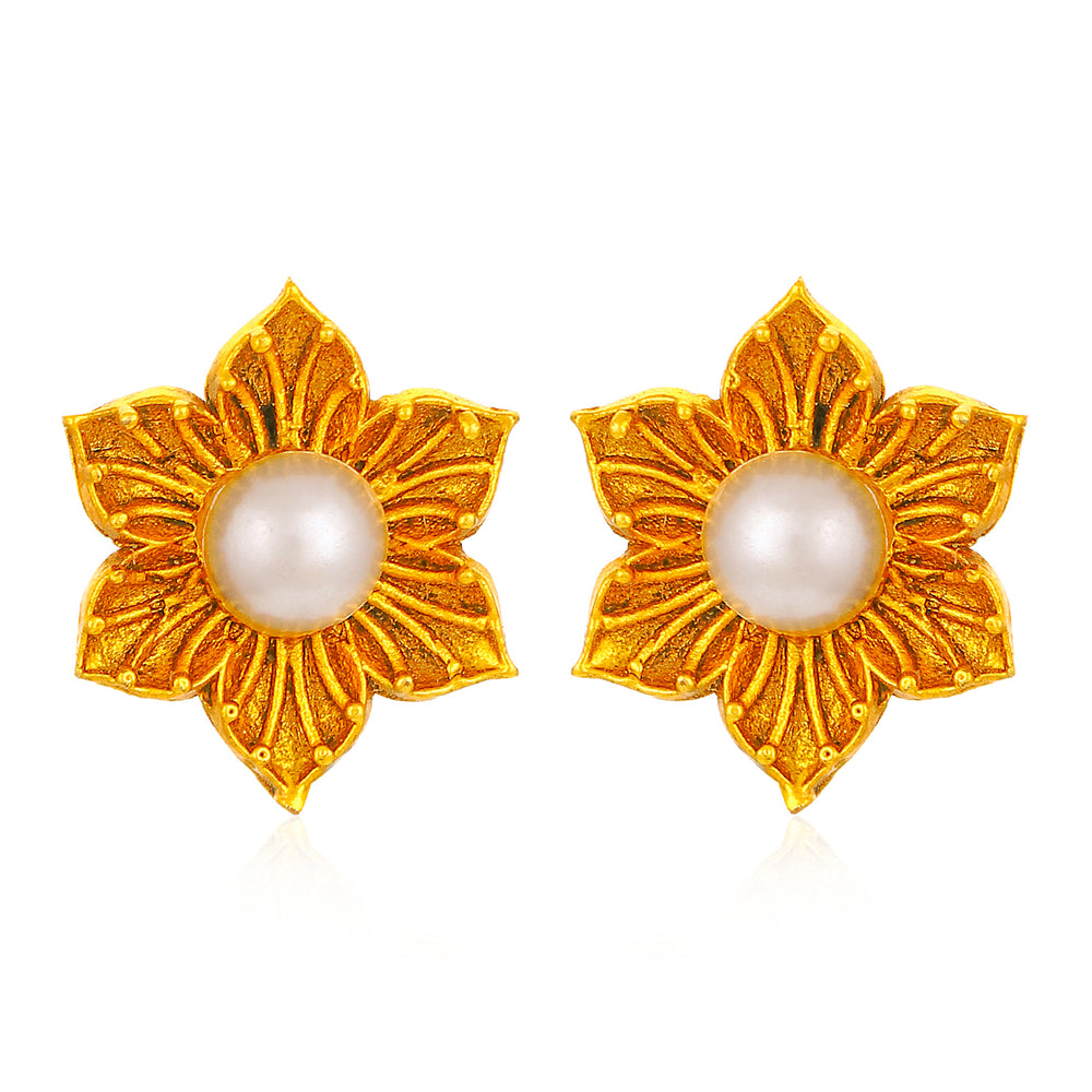 Sukkhi Adorable Floral Pearl Gold Plated Earring for Women