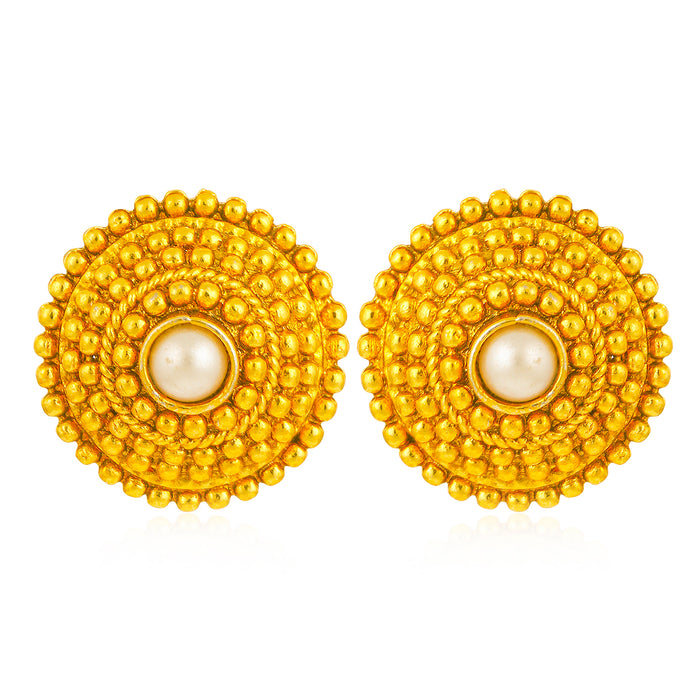 Sukkhi Astonish Gold Plated Pearl Stud Stud for Women