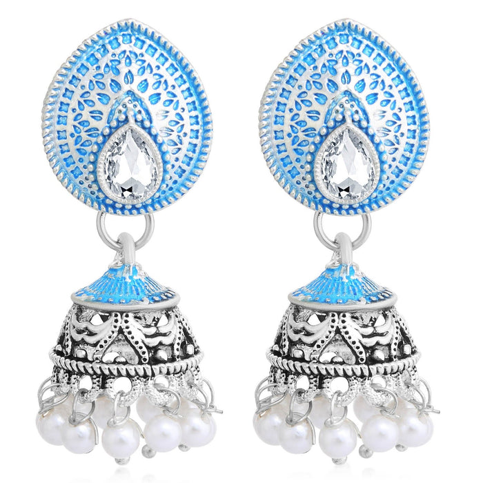Sukkhi Glossy Oxidised Pearl Meenakari Jhumki Earring For Women