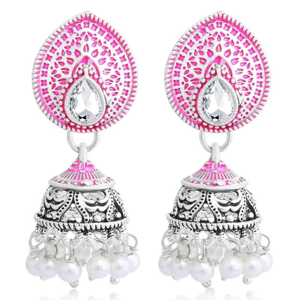 Sukkhi Glimmery Oxidised Pearl Meenakari Jhumki Earring For Women