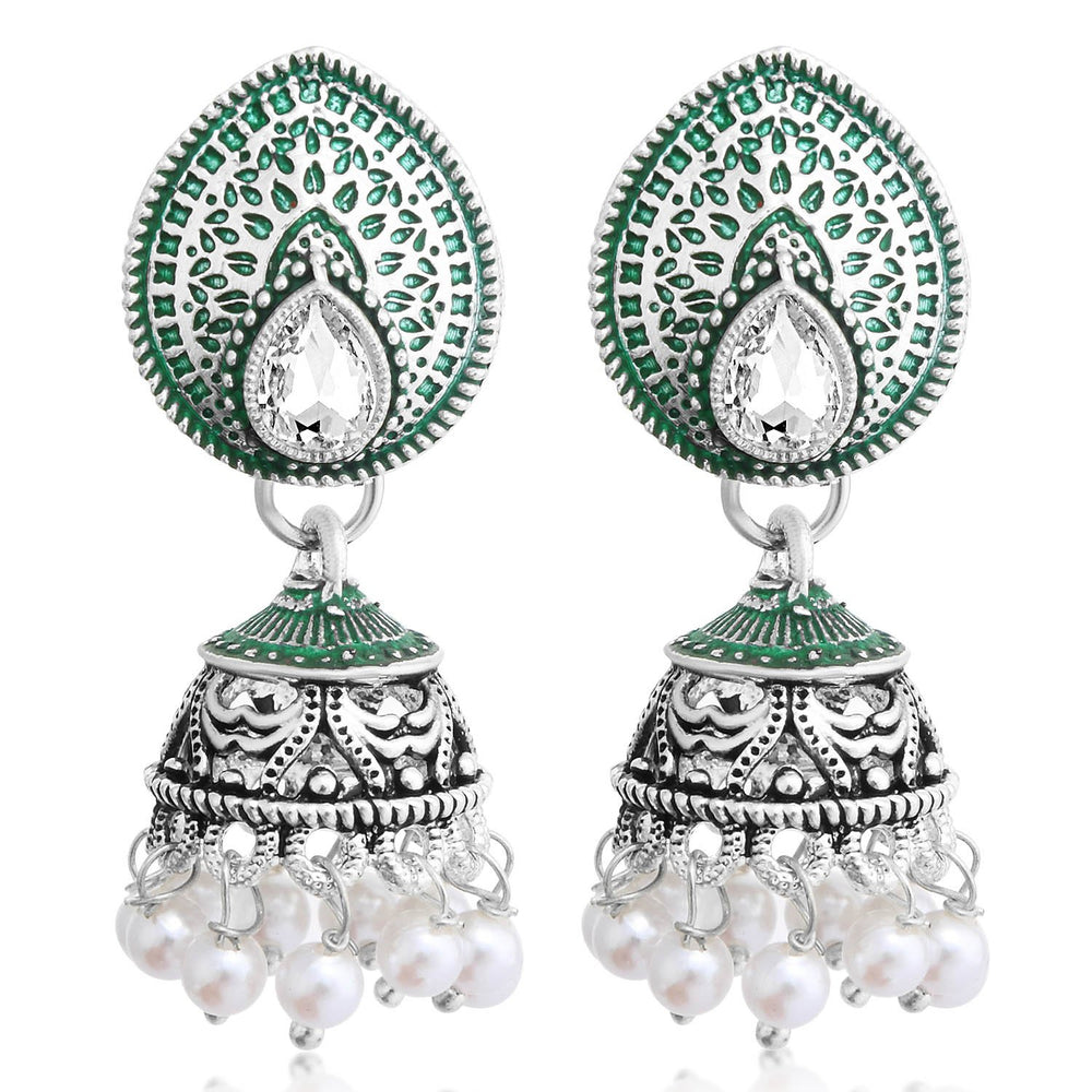 Sukkhi Stunning Oxidised Pearl Meenakari Jhumki Earring For Women