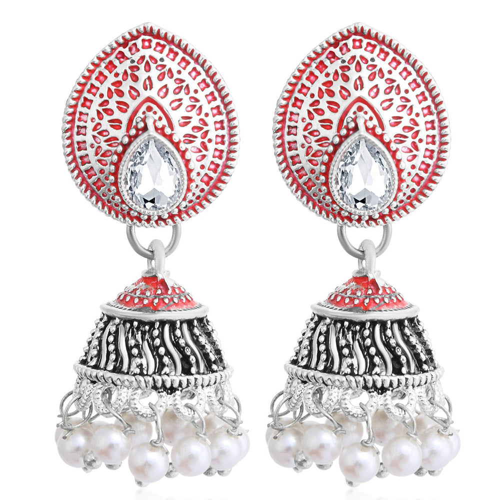 Sukkhi Spectacular Oxidised Pearl Meenakari Jhumki Earring For Women