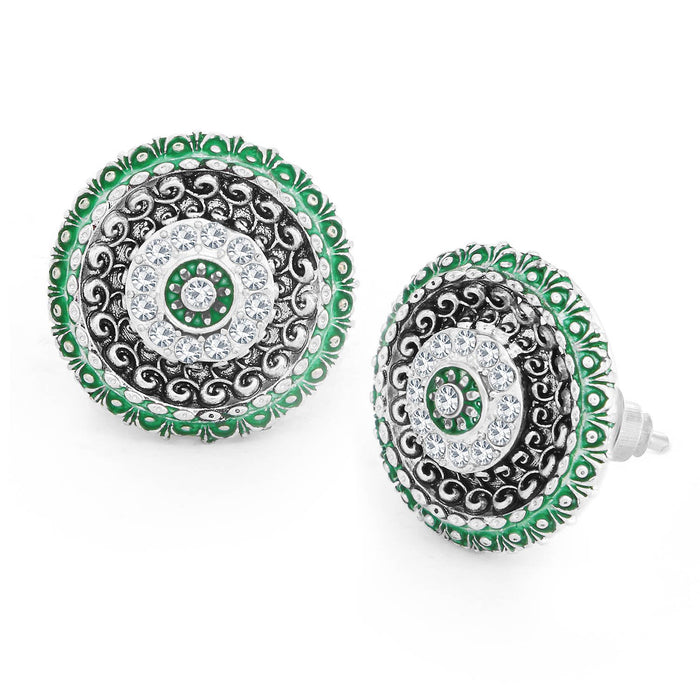 Sukkhi Gleaming Rhodium Plated Floral Meenakari Stud Earring For Women