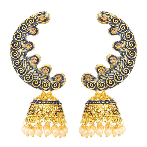 Sukkhi Incredible Meenakari Gold Plated Chandbali Jhumki Earrings For Women