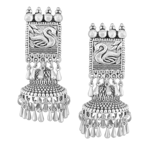 Sukkhi Elegant Oxidised Swan Jhumki Earring For Women