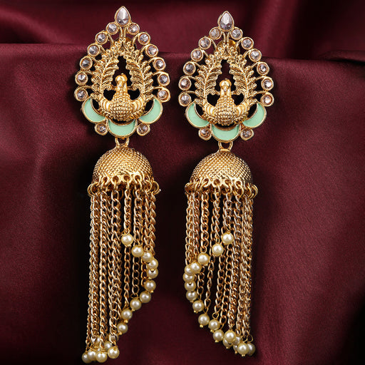 Sukkhi Sparkling Gold Plated Peacock Jhumki Earring for Women