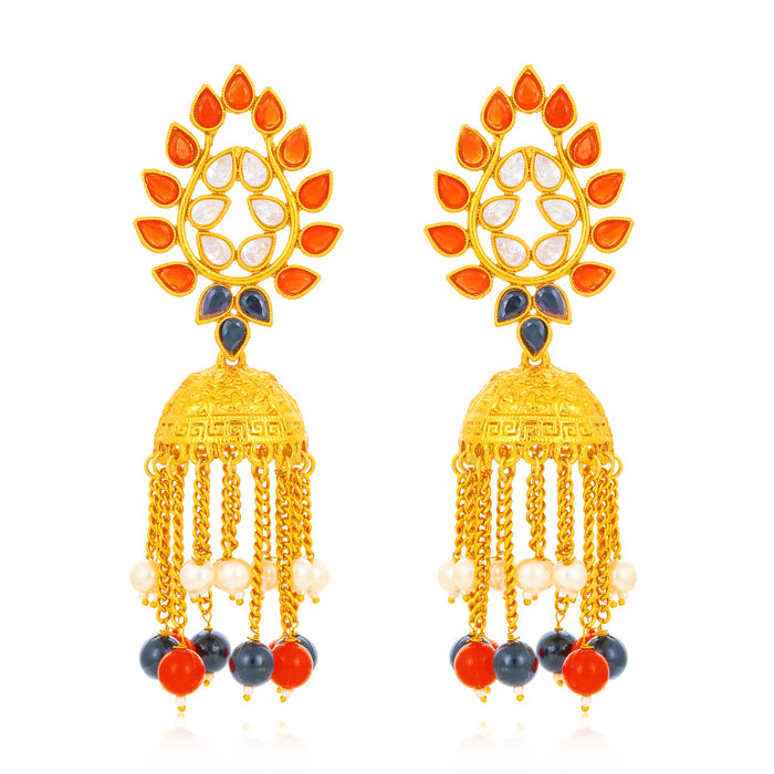 Sukkhi Glorious Gold Plated Kundan Chandelier Earring for Women