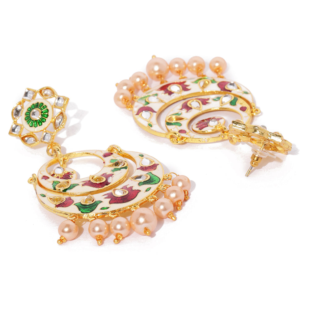 Sukkhi Appealing Meenakari Gold Plated Chand Bali Earring for Women
