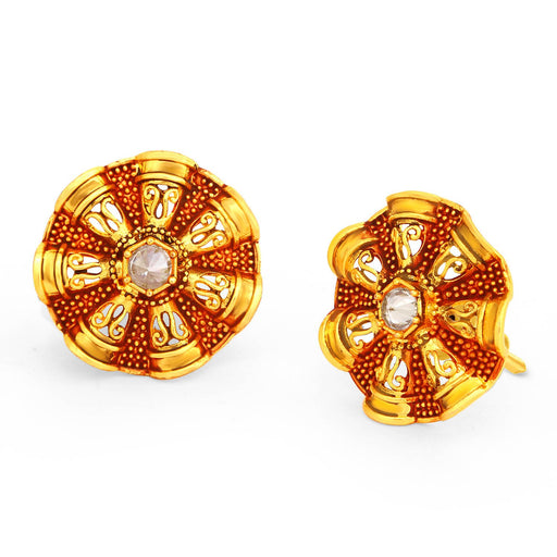 Sukkhi Lovely Gold Plated Floral Red Mint Meena Collection Stud Earring For Women