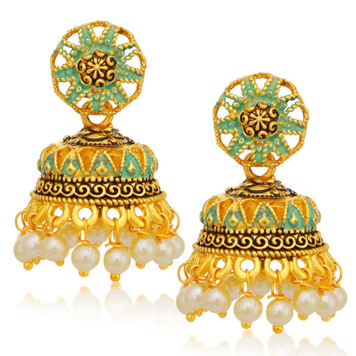 Sukkhi Gleaming Gold Plated Pearl Sky Blue Mint Meena Collection Jhumki Earring For Women