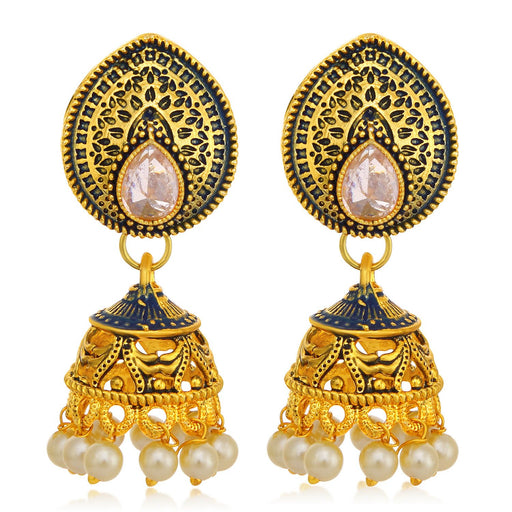 Sukkhi Eye-Catchy Gold Plated Pearl Purple Mint Meena Collection Jhumki Earring For Women