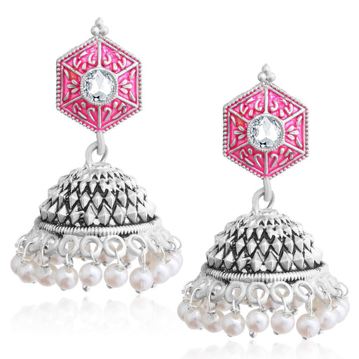 Sukkhi Eye-Catchy Oxidised Pearl Meenakari Jhumki Earring For Women