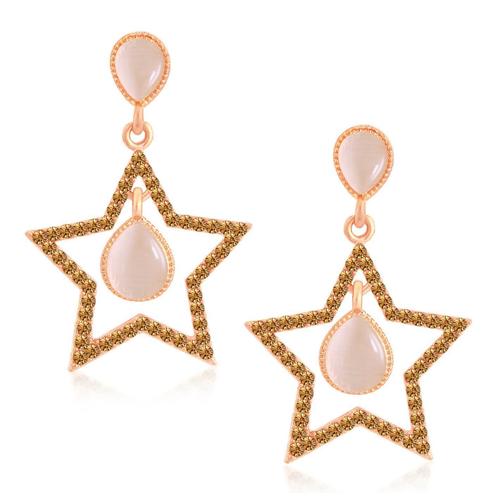 Sukkhi Shiny Rose Gold Plated LCT Stone Star Shaped Dangle Earrings For Women