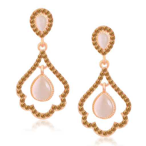 Sukkhi Glittery Rose Gold Plated LCT Stone Dangle Earrings For Women