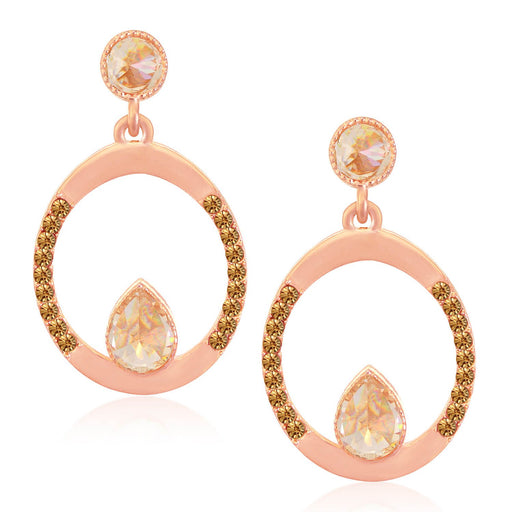 Sukkhi Dazzling Rose Gold Plated LCT Stone Circular Dangle Earrings For Women