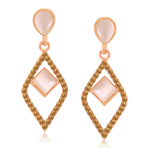 Sukkhi Ravishing Rose Gold Plated LCT Stone Diamond Shaped Dangle Earrings For Women