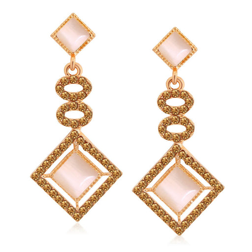 Sukkhi Charming Rose Gold Plated LCT Stone Diamond Shaped Dangle Earrings For Women