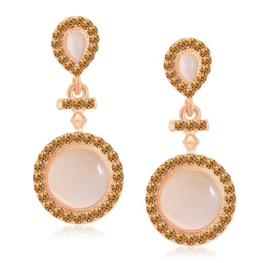 Sukkhi Elegant Rose Gold Plated LCT Stone Circular Dangle Earrings For Women