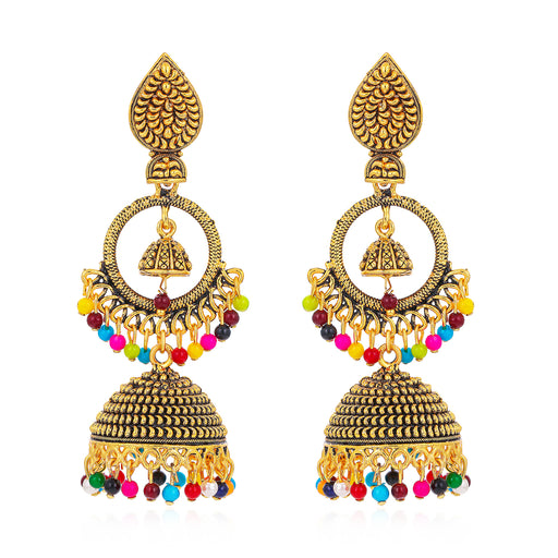 Sukkhi Stunning Gold Plated Colourful Jhumki Earring for Women