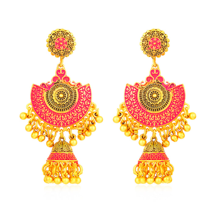 Sukkhi Trendy Gold Plated Mint Meena Collection Chand Bali Earring for Women