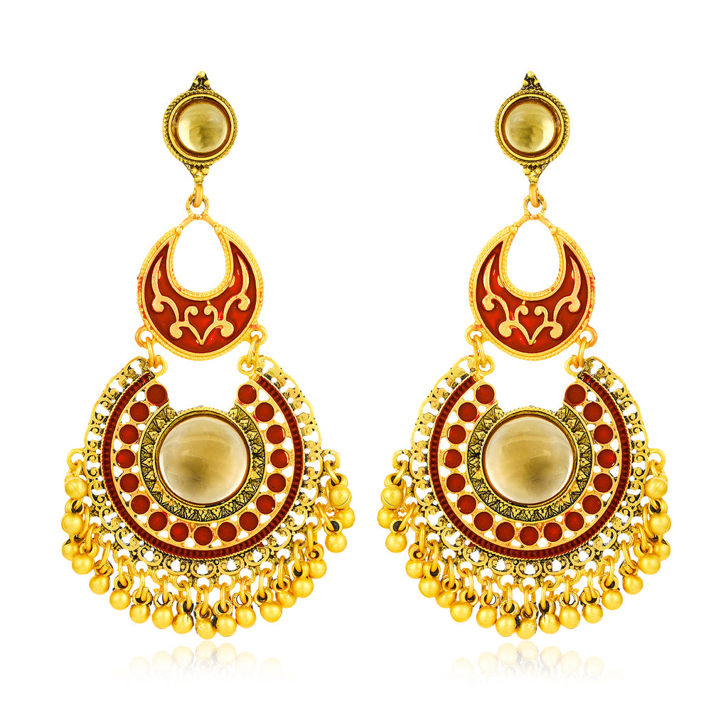 Sukkhi Equisite Gold Plated Mint Meena Collection Chand Bali Earring for Women