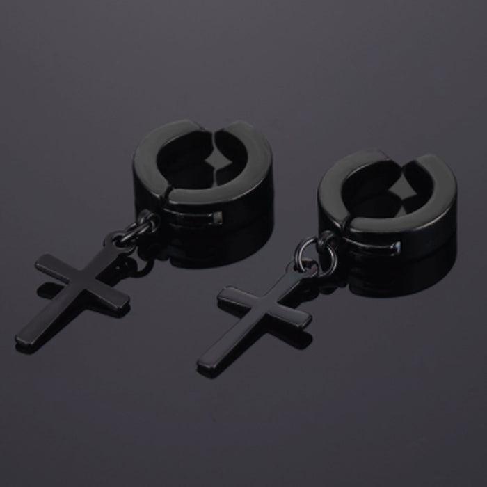 Sukkhi Marvellous Black Titanium Collection and Cross Crystal Stone Titanium Plated Earring for Women