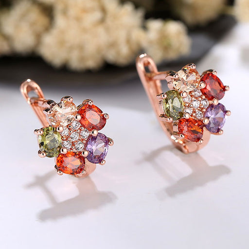 Sukkhi Astonish Floral Crystal Stone Multi Colour Gold Plated Earring for Women