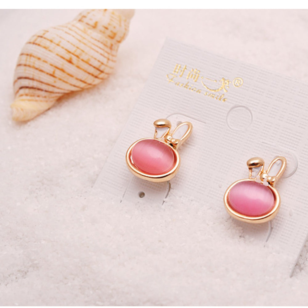 Sukkhi Modern Bunny Crystal Stone Pink Gold Plated Earring for Women