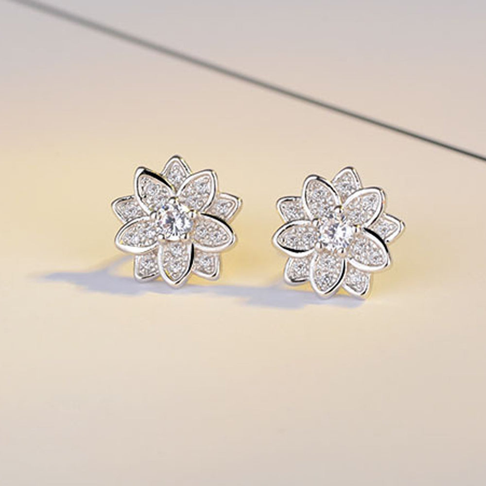 Sukkhi Intricately Floral Cubic Zirconia Rhodium Plated Earring for Women