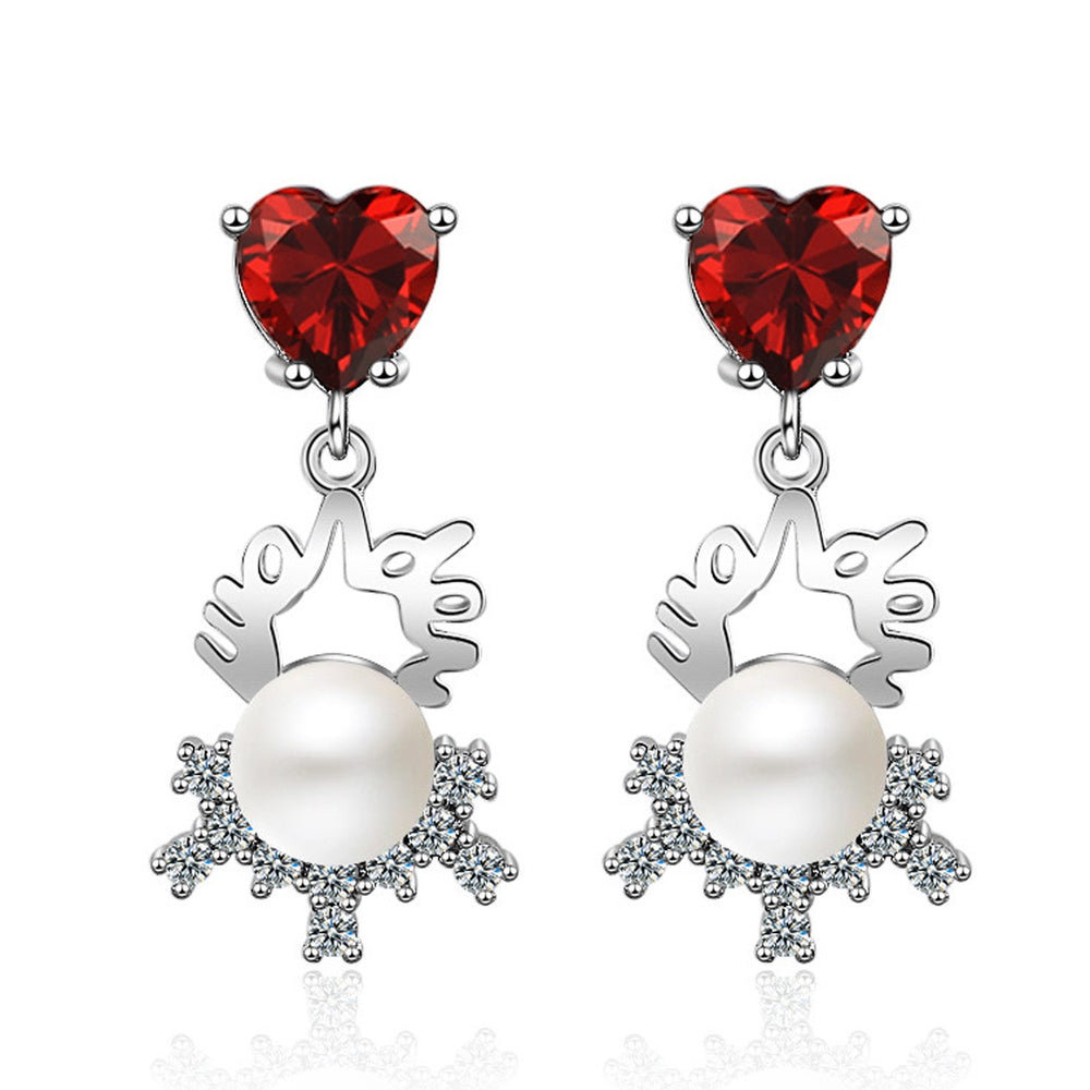 Sukkhi Sleek Valentine Heart Cubic Zirconia Rhodium Plated Earring for Women