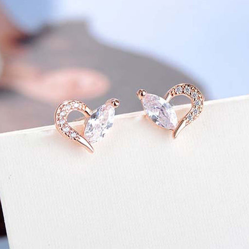 Sukkhi Resplendent Valentine Heart Australian Diamond Rhodium Plated Earring for Women