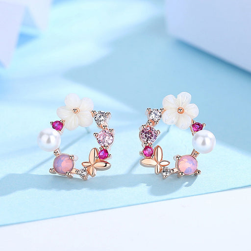 Sukkhi Shimmering Floral Crystal Pink Gold Plated Earring for Women