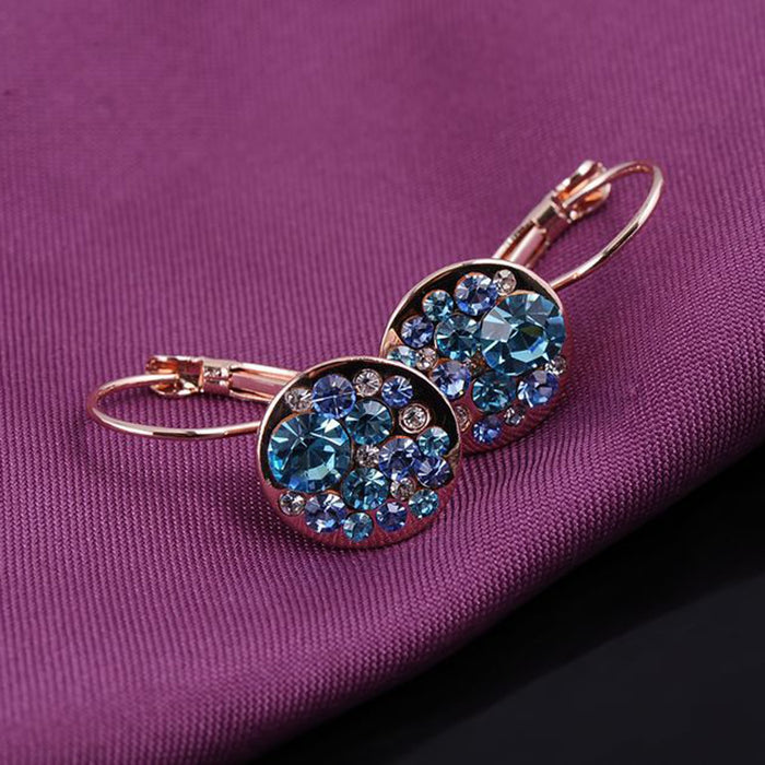 Sukkhi Shimmering Round Crystal Blue Radiant Gold Plated Clip On Earring for Women