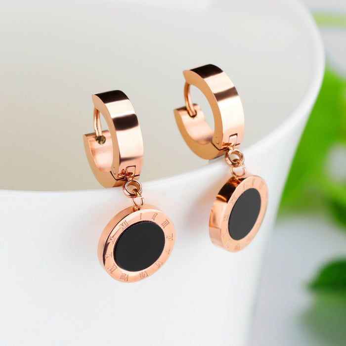 Sukkhi Eye-catchy Black Roman Number Crystal Gold Plated Earring for Women